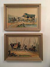 English Vintage Antique Art Prints Board Framed Horses Carriage