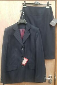 NEW ** CLUBCLASS LADIES SIZE 14R ** NAVY PINSTRIPE SUIT JACKET & SKIRT RRP£120+