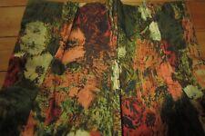"""Pr Mid Century VTG Lined Pinch Pleat Curtains Flower Power Orange Green 61"""""""