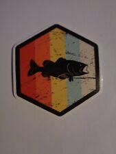 Fishing Box or Car vinyl Sticker Rainbow with Black fish silhouette