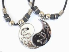 NEW BEST FRIEND Dragon Yin Yang  2 Pendants Necklace Set BFF Friendship Ying