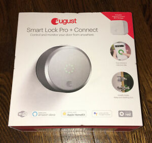 NEW August ASL-03 AC-R1 Smart Lock Pro with Connect Wi-Fi Bridge - Silver NEW