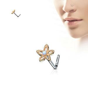 "Nose L Bend Ring Flower Daisy w/Opal Gem 6mm Head 20 Gauge 1/4"" Rose Gold Body"