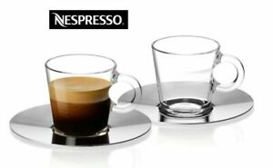 NESPRESSO VIEW Set of 2 Glass Cups and Stainless Saucers Brand New