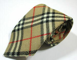 Burberrys Of London Nova Plaid Checks Pattern Beige Color Wool Necktie Tie