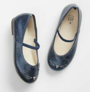Baby GAP Toddler Kids Girls Size 6, 7 Kitten Blue Slip-On Ballet Flats Shoes NEW
