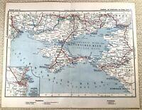 1905 Ancien Chemin de Fer Carte Russie Odessa Ukrainien Russe Rail Railroad