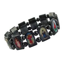 Hämatitarmband - Armband mit Hämatit Perlen - Hl. Motive Jesus Maria