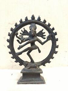 Antique Natraj Bronze Statue Hindu Temple Shiva Sculpture Nataraja Figurine US
