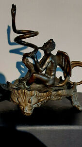 Exceptional & Rare 19thC Lucifer candle holder chamberstick, candlestick Satanic