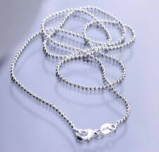 925 Sterling Silver Plated Ball Bead Chains Necklace Lobster Clasp for Pendants