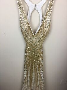 Vintage Womens ALYCE DESIGNS  Gold Sequin Beads Sz 6 Evening
