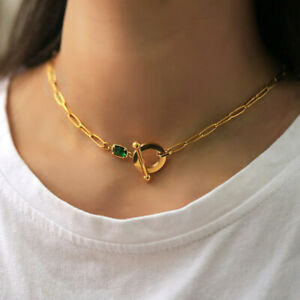 Gold PLATED Paperclip Chain Choker Women Stainless Steel Cable Necklace Toggle