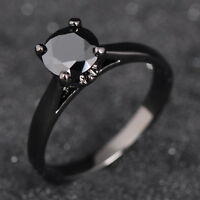 Jewelry Solitaire Rings Black Sapphire CZ Women's 10Kt Black Gold Filled Sz 6-10