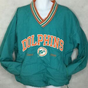 Vintage Champion Miami Dolphins Pullover Size L NFL Football Teal Windbreaker