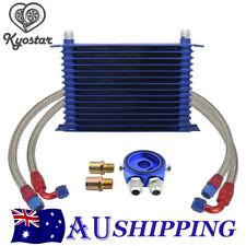 15Row 10AN Universal Engine Transmission Oil Cooler+Filter Adapter Hose Kit Blue