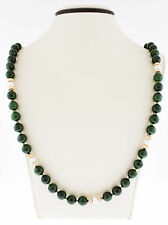 14K Yellow Gold Women's Green Jade Stones White Pearls, Spacers & Clasp Necklace