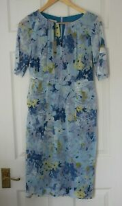 Hobbs ~ Blue Floral Lined Silk Dress With Stretch ~ Size 10 ~ NWT