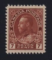 Canada Sc #114 (1911-25) 7c red brown Admiral Mint VF NH