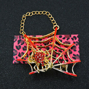 Exquisite Red Crystal Enamel Spider Web Animal Betsey Johnson Woman Brooch Pin