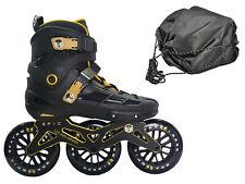 Epic Engage Ii Black & Gold 125mm 3-Wheel Inline Speed Skates + Free Bag