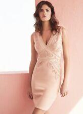 Lipsy Cornelli Trim V Neck Dress Size 14 Pink Bodycon Wedding Races Holiday