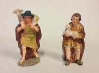 Figurines Pour Crèche Paire De Bergers De CM 10 IN Résine Décoré à la Main