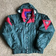 Vintage Asics Mens Ski Coat Jacket Storable Hood Green Blue Purple Size XL