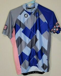 Pactimo Men's Short Sleeve Full Zip Blue/Grey/Pink Cycling Jersey Size Large EUC