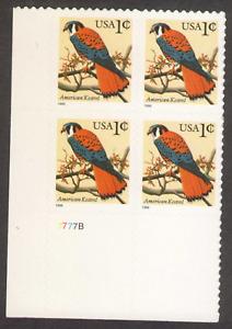US. 3031. 1c. American Kestrel. PB 4 #7777B LL. MNH. 1999