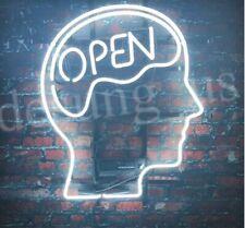 """Open Mind Brain White Light Neon Sign Beer Bar Gift 20""""x16"""" Lamp Artwork Head"""