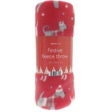 Country Club Fleece Throw Christmas Dogs Red Festive Xmas Animal Print Blanket