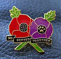 Red & purple poppy badge We served together animals at war