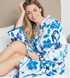 LADIES WOMENS BLUE FLORAL PRINT ROBE DRESSING GOWN 'LIBBY' CYBERJAMMIES 8-22