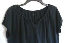 ANN TAYLOR LOFT Faded Black JERSEY Knit TIE-Neck BOHO Knit Top Sz SMALL