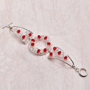 Garnet White Topaz Ethnic Gift Jewelry Handmade Bracelet 22 Gms AB 46358