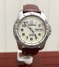 Timex Expedition Mens Watch DAY & DATE Indiglo Brown Leather Strap Analogue (810