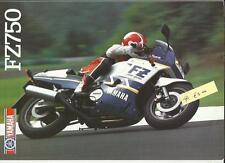 YAMAHA FZ750  MOTORBIKE SALES BROCHURE 1987