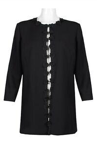 Tahari ASL Open Front Embellished Twill Crepe Jacket Size 24W Black NWT $179