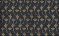Wallpaper Arts & Crafts Dark Gold on Black Mini Tulip Vine