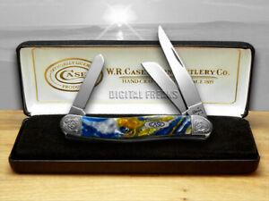 Case xx Medium Stockman Knife Sapphire Glow Corelon Engraved Bolster 9318SG/E