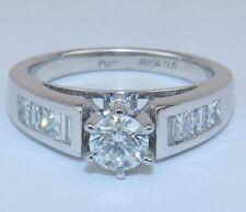 14K White Gold 1.00 ct Round Genuine Natural Diamond Engagement Ring Size 7