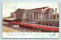 Omaha, NE - RARE c1907 VIEW OF BURLINGTON TRAIN STATION DEPOT - POSTCARD - W3