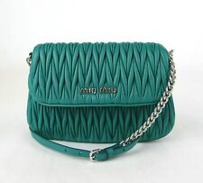 Miu Miu Teal Green Gathered Leather Crossbody Chain Bag w/Logo 5BH126