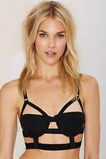 New Nasty Gal Sexy Alter Ego Caged Black Festival Bustier Bra Sz. 34A
