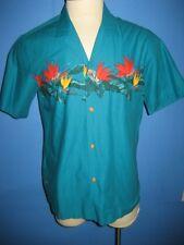 Vtg Paradise Found Floral Turquoise Floral Magnum PI Hawaiian Camp Shirt L Mint