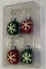 4 RED & GREEN SNOWFLAKE NAPKIN HOLDER PLACE CARD HOLDERS CHRISTMAS DECORATION