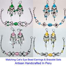 20 EARRINGS BRACELETS PERUVIAN CATS EYE BEAD JEWELRY SETS PERU ALPACA SILVER LOT