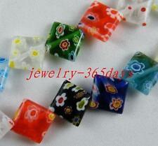 80pcs Millefiori Glass Rhombus Spacer Beads 10x10mm