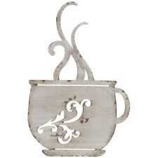 Rustic White Metal Coffee Cup Wall Plaque Shabby Chic Coffee Shop  Kitchen Decor